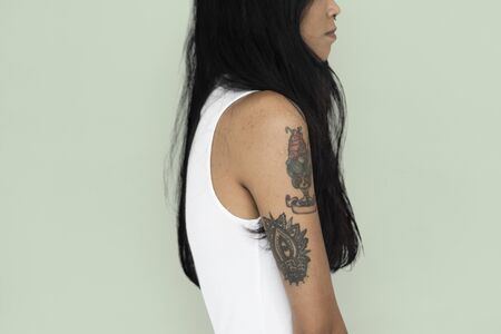 Asian Woman Tattoo Sideview