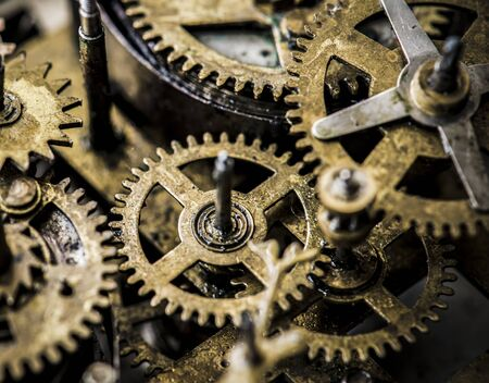 Closeup of gears and cogs clockwork macro shot Stock Photo