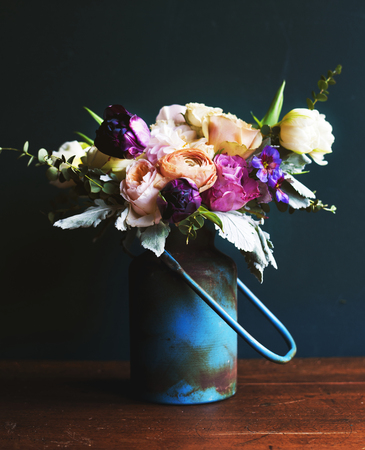 Rustic vase with a beautiful bouquet Stock Photo
