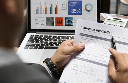 Business Man Insurance Application Form Concept