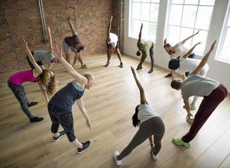 Diversidade Pessoas a classe do exercício Relax Conceito Imagens