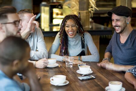 Diverse People Hang Out Coffee Cafe Friendship Banque d'images