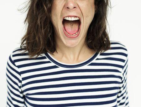 Femme Visage Scream Expression Emotion Banque d'images