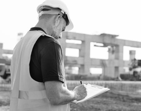 Site engineer on a construction site Standard-Bild