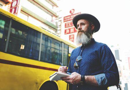Man Journal Exploring Tourism Concept Standard-Bild