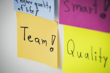 Closeup of sticky note paper