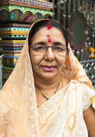 Indian woman portrait at the temple