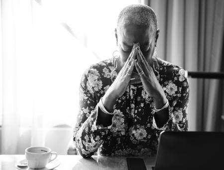 Woman stressed Stock Photo