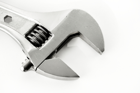 Macro shot of adjustable wrench isolated on whtie background Reklamní fotografie