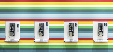 Public telephones on the wall
