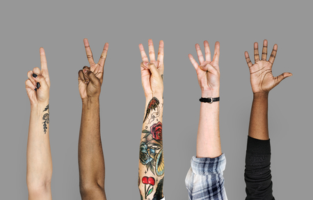Diversity hands with numberic sign