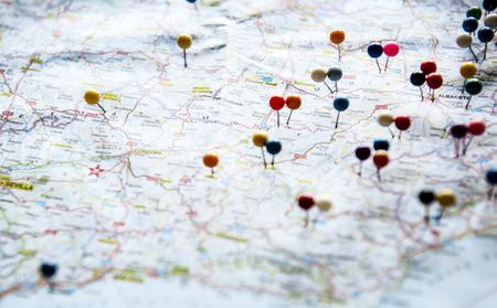 pianificazione del viaggio con mappa Archivio Fotografico