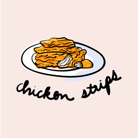 Illustration drawing style of chicken strips Stock Photo