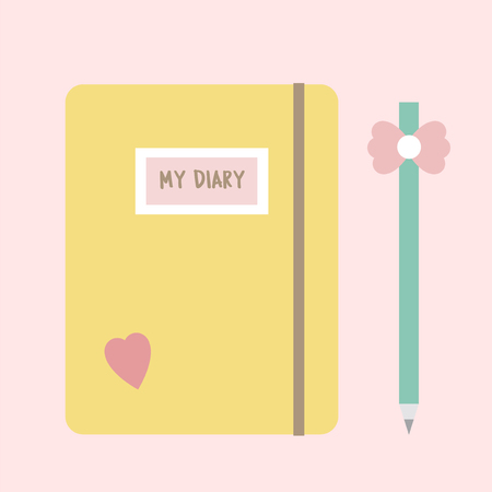 Cute diary and a pencil concept