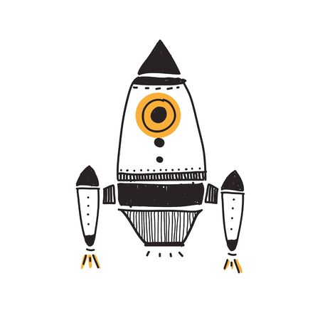 Spaceship doodle style Imagens