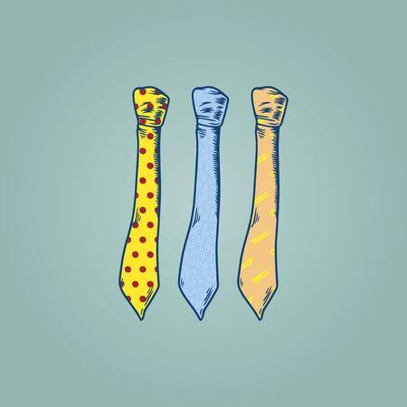 Three Drawing Neckties Illustration on Mint Green