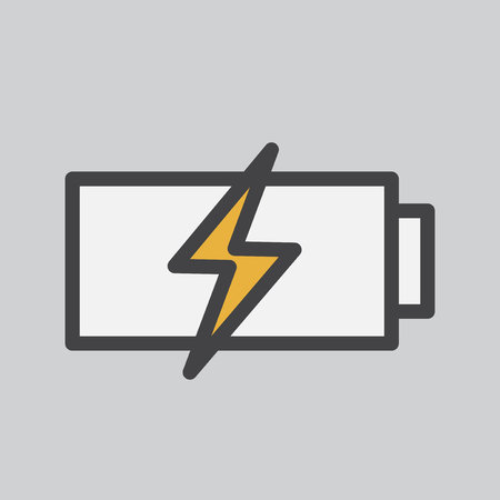Battery charging icon concept