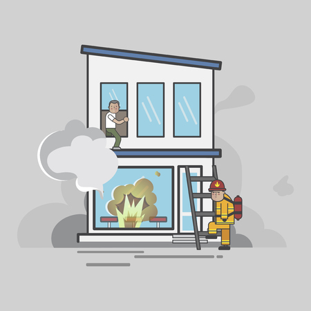 Illustration of firefighter vector set Stock fotó