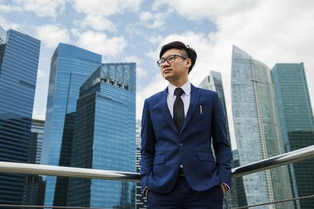 Businessman overlooking buildings
