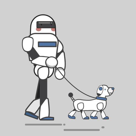 Robot person walking pet robot