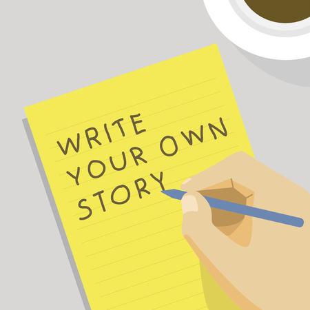 'Write your own story' illustration Standard-Bild - 95598222
