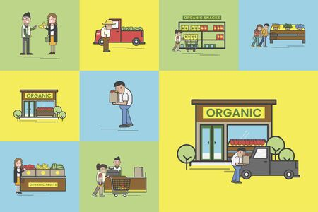 Illustration set of supermarket vector Foto de archivo - 95112152