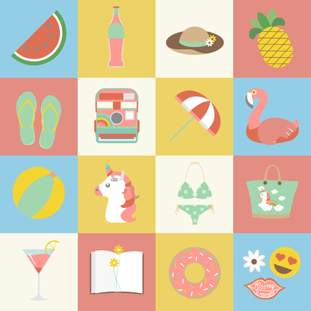 Collection of summer theme 写真素材