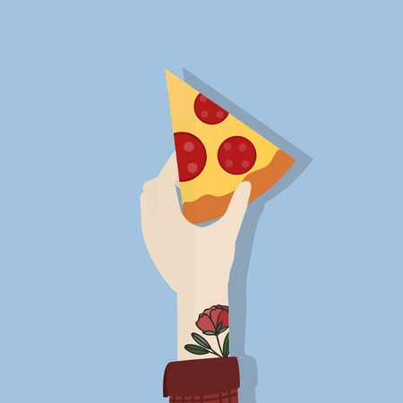 Illustration of hand holding pizza Stock Photo