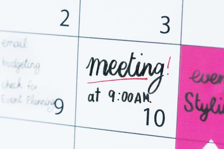 Meeting calendar reminder Banque d'images