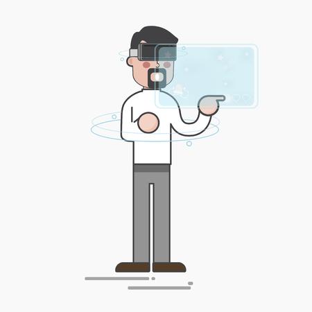 Man with virtual screen concept