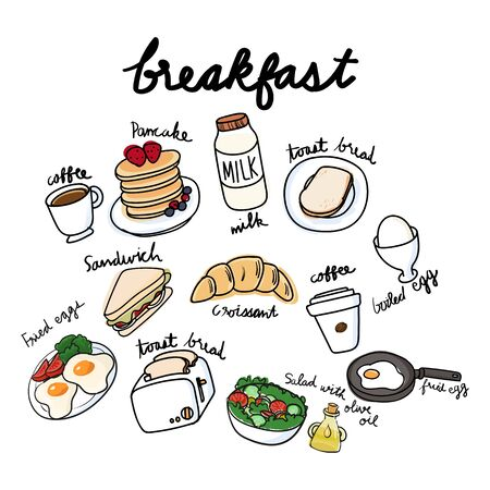 Vector of breakfast collection