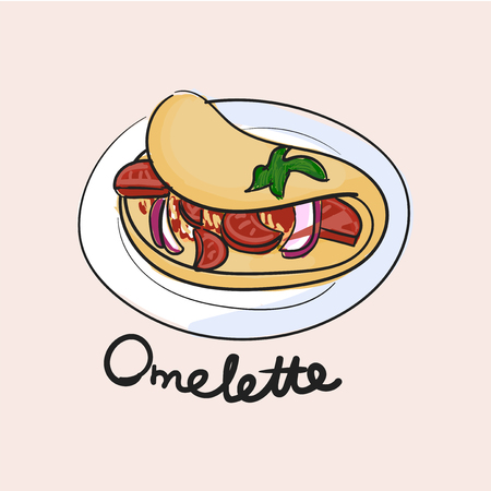 Illustration drawing style of omelette 写真素材