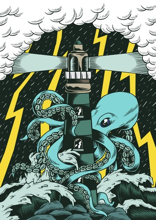 Comic style drawing octopus attack lighthouse