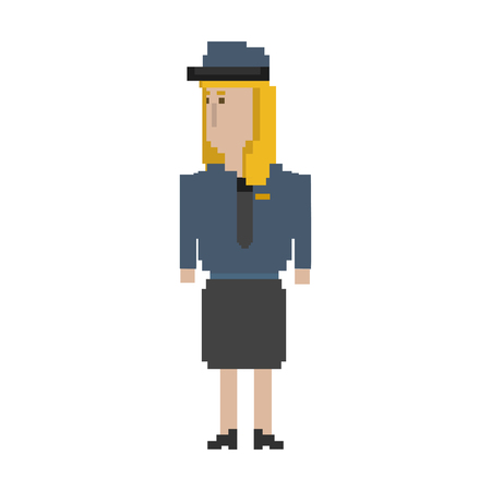 Pixelated woman character