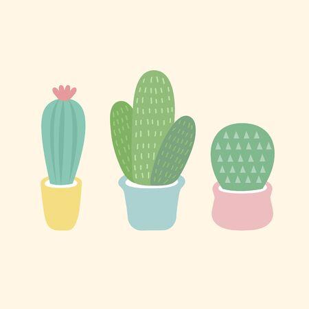Three small cacti vector