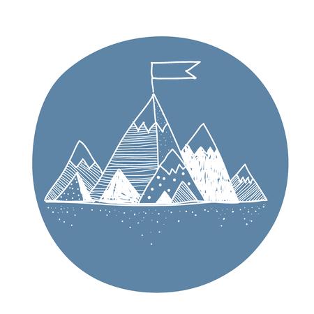 circle illustration of mountain