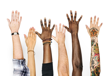 Diversity hands raised up gesture Stok Fotoğraf - 95112760