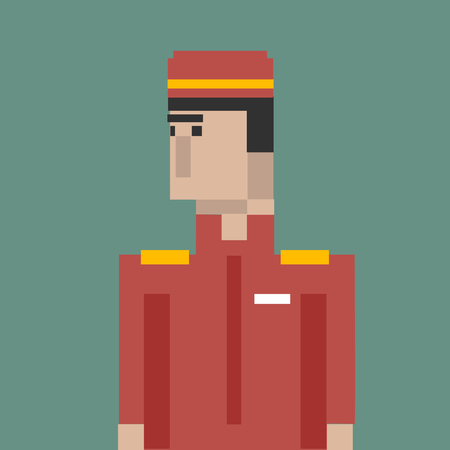 Pixelated bellboy character Stock Photo