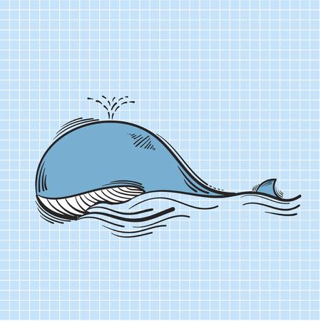 Illustration des blauen Wals schwimmen Standard-Bild - 95597942