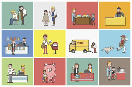 Illustration of small business vector set 写真素材