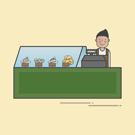 Illustration of bakery shop Banco de Imagens