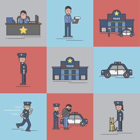 Illustration set of police station