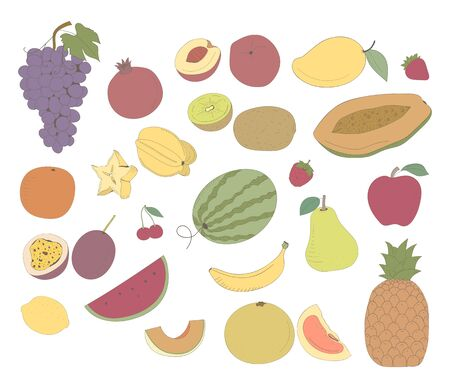Illustration of different kinds of fruits Stok Fotoğraf