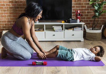 Mom and son workout at home
