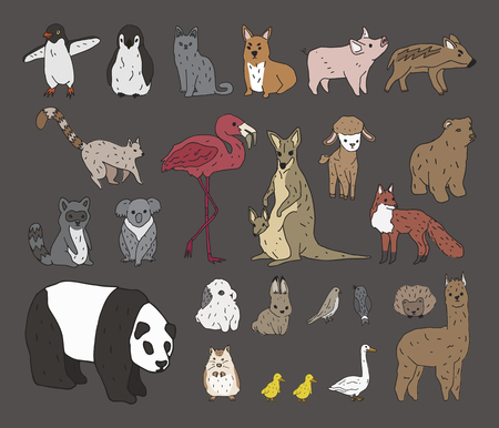 Illustration of animals set