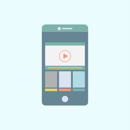 Media app on mobile phone Banco de Imagens