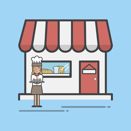 Illustration of bakery shop set
