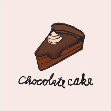 Illustration of dessert chocolate cake Stok Fotoğraf - 95597210