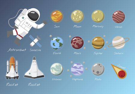 The solar system vector Banque d'images - 95597217