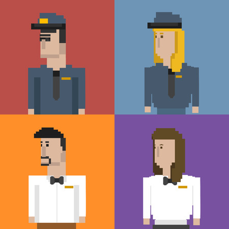 Pixelated characters concept Stock Photo